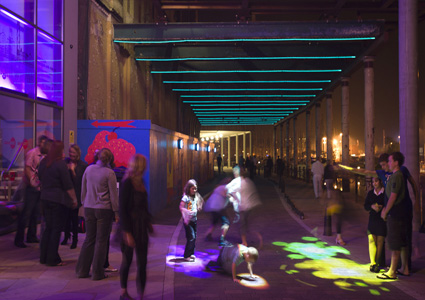 Light strips decorate the horizontal colonnade