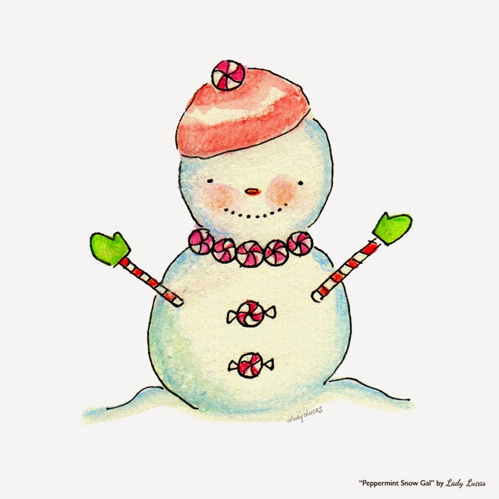 Peppermint Snow Gal by Lady Lucas | #25DaysofSnowmen