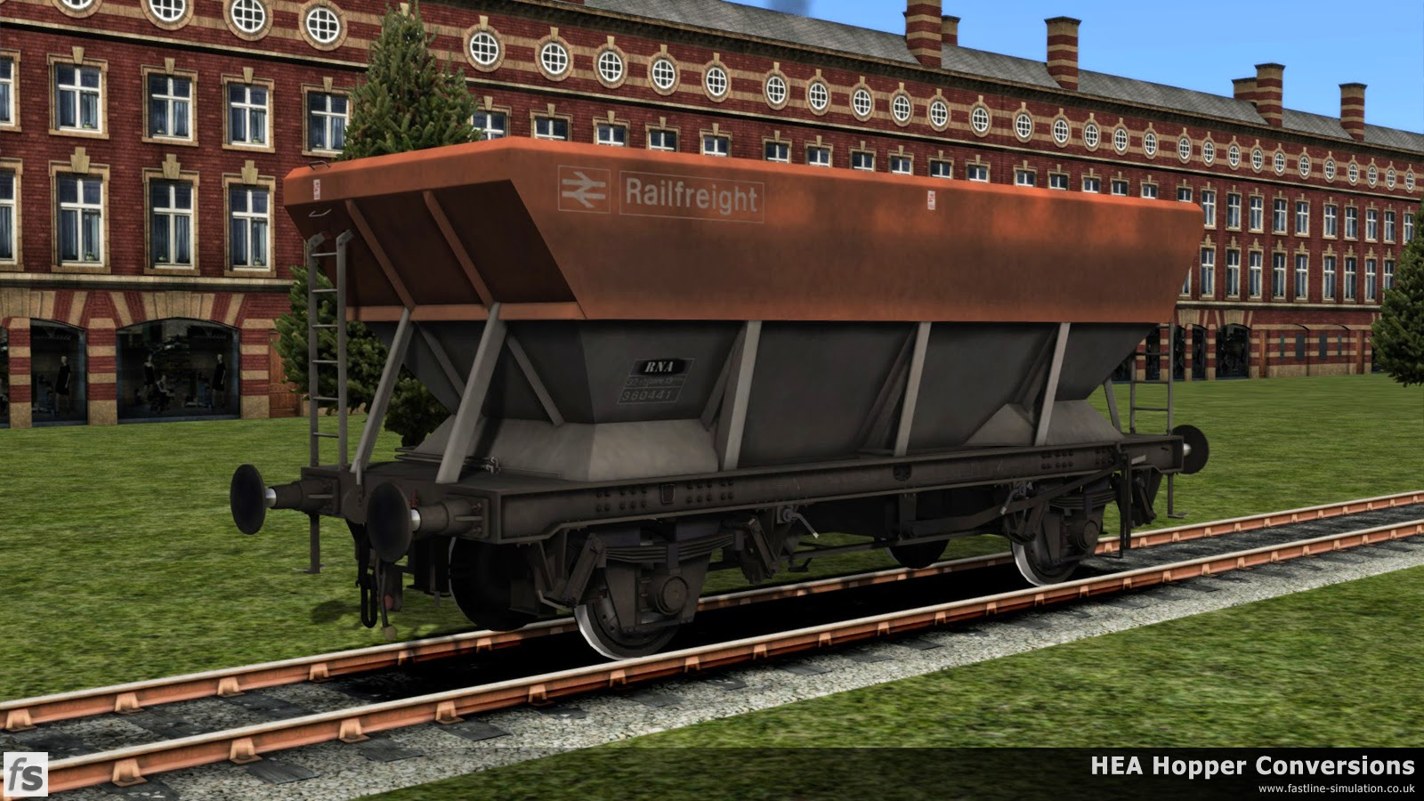Fastline Simulation - HEA Conversions: This HEA hopper in grubby Railfreight flame read and grey livery has had a change of TOPS code to RNA to signify it is being used as a barrier wagon.