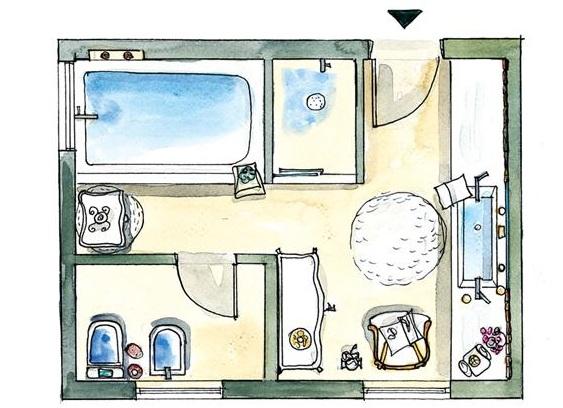 Baños Estilo Natural:Aunque había suficiente espacio, los dueños prefirieron una bañera