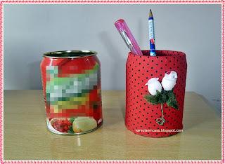 lata de extrato de tomate reciclagem encapar com tecido porta canetas