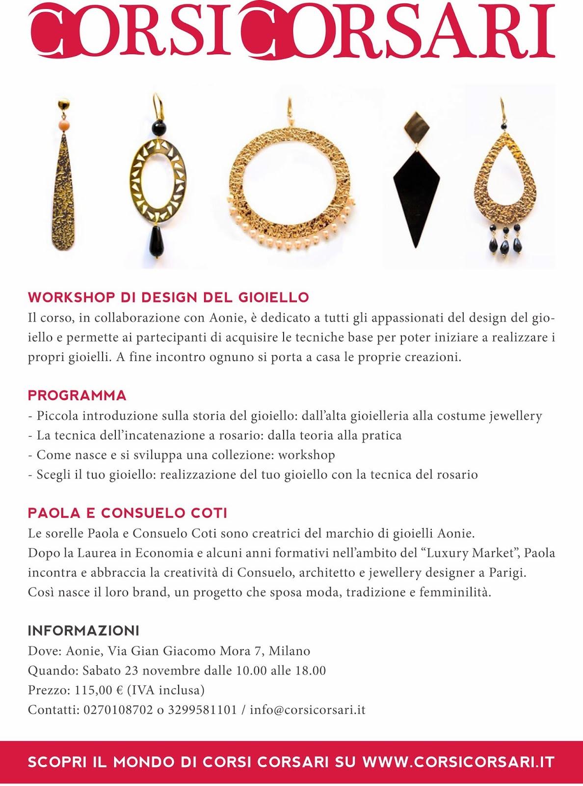Aonie corsi corsari programma del workshop di design for Corso di design del gioiello