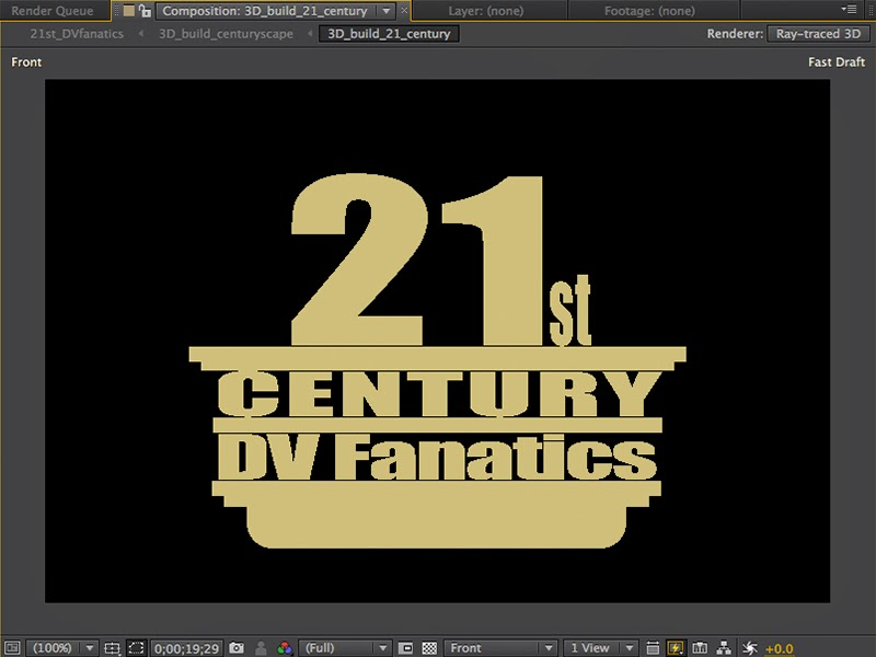 Animating the 21st Century DV Fanatics film open in Adobe After Effects.