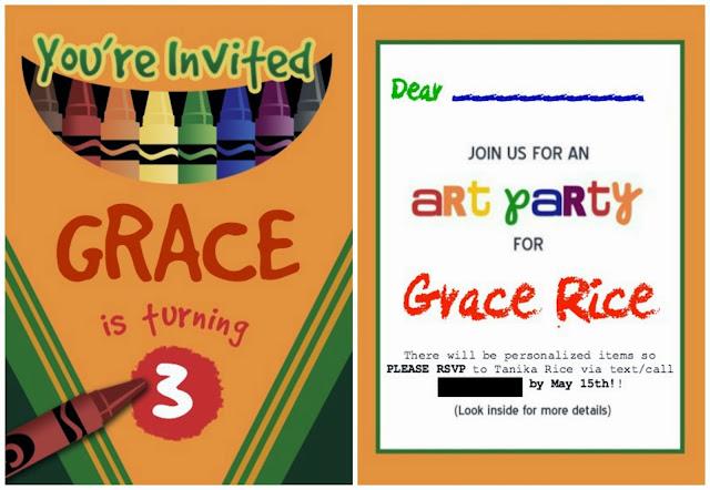 Gracie's Art Party, Art Party, DIY, Art Party Invitations, Pinterest, DIY invitations, Crayola