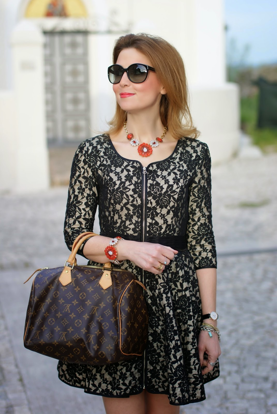 Blackfive black lace dress, Sodini bijoux, Louis Vuitton Speedy bag, Daniel Wellington watch, Fashion and Cookies, fashion blogger