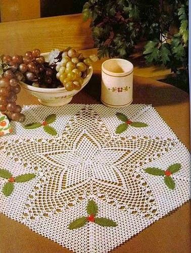 Patrón de Carpeta pentagonal con aires de navidad - ganchillo