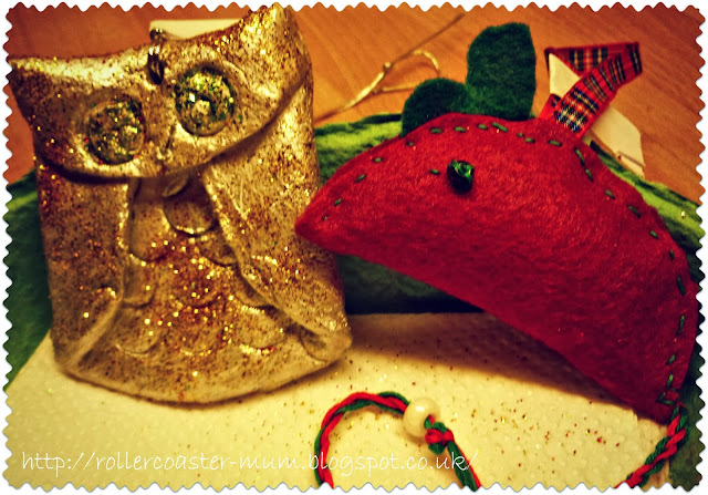 craft clay owl Christmas decoration and handmade Christmas mouse