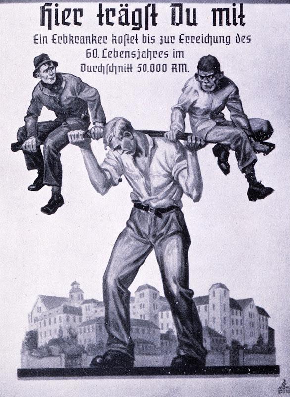 Nazi-tysk propaganda plakat som fremhævede omkostningerne ved arveligt syge