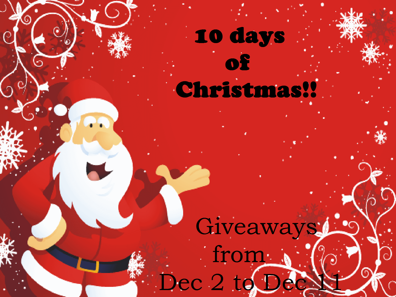 come back in december if you want to win signup below if you want to join the party and promote the event 10 days of christmas
