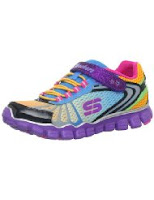pink purple yellow rainbow skecher kids shoes