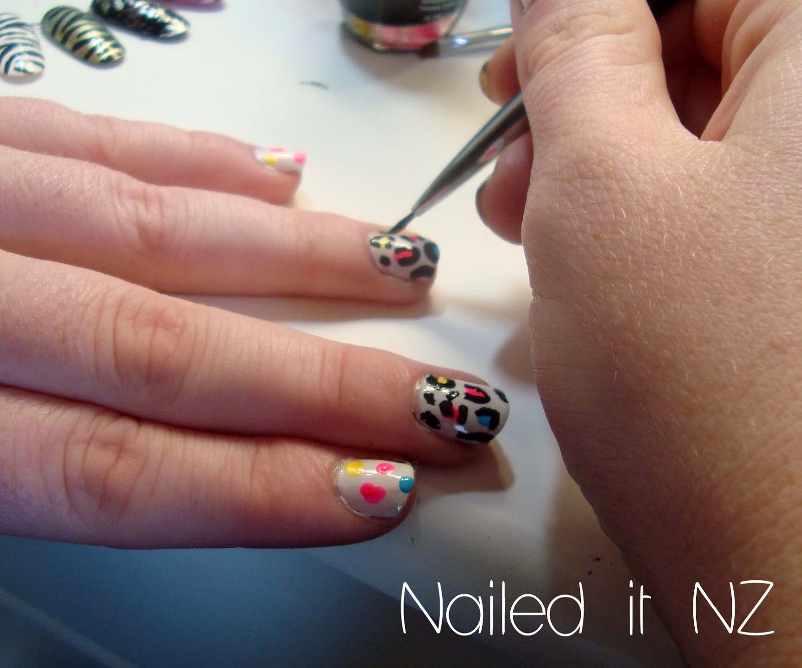Teaching my friend nail art! Leopard print ☺