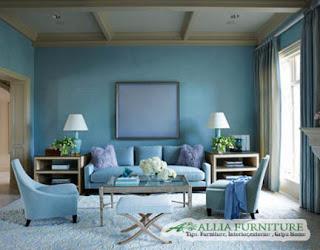Warna Blue ocean biru laut di ruang tamu