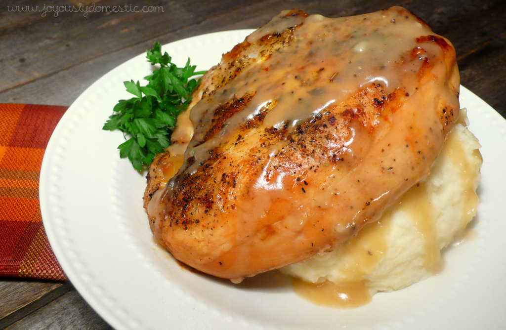 Remove chicken from slow cooker. Serve with or over mashed potatoes ...