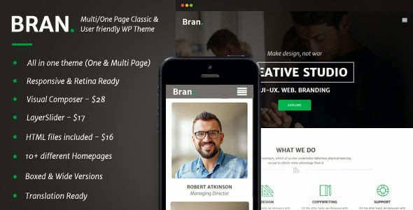 Multi or One Page Business WordPress Theme