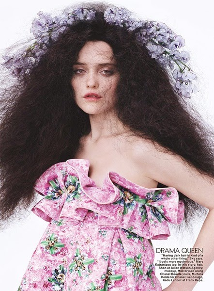 Mary Katrantzou Spring 2014 Editorial: Pink Floral Top with Big Ruffles