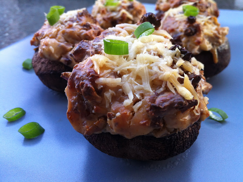 Bacon, Blue Cheese, Caramelized Onion Stuffed Mushrooms