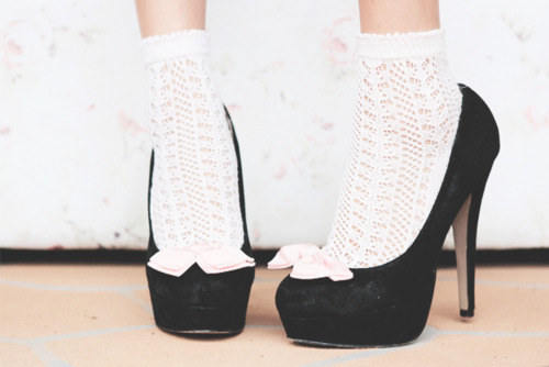 white ankle socks with black heels