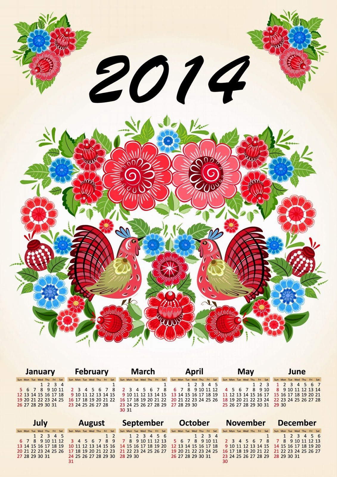 Flowers 2014 Calendar Printable