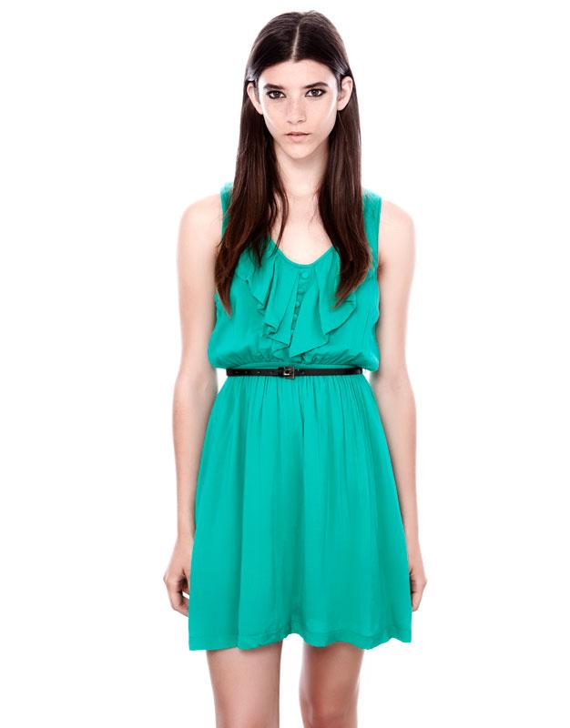 yeşil renk kısa şifon elbise modeli