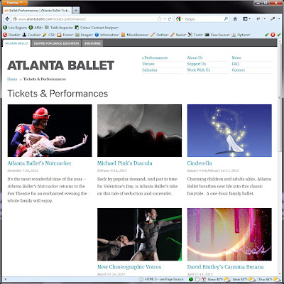 Screen shot of http://www.atlantaballet.com/tickets-performances/.