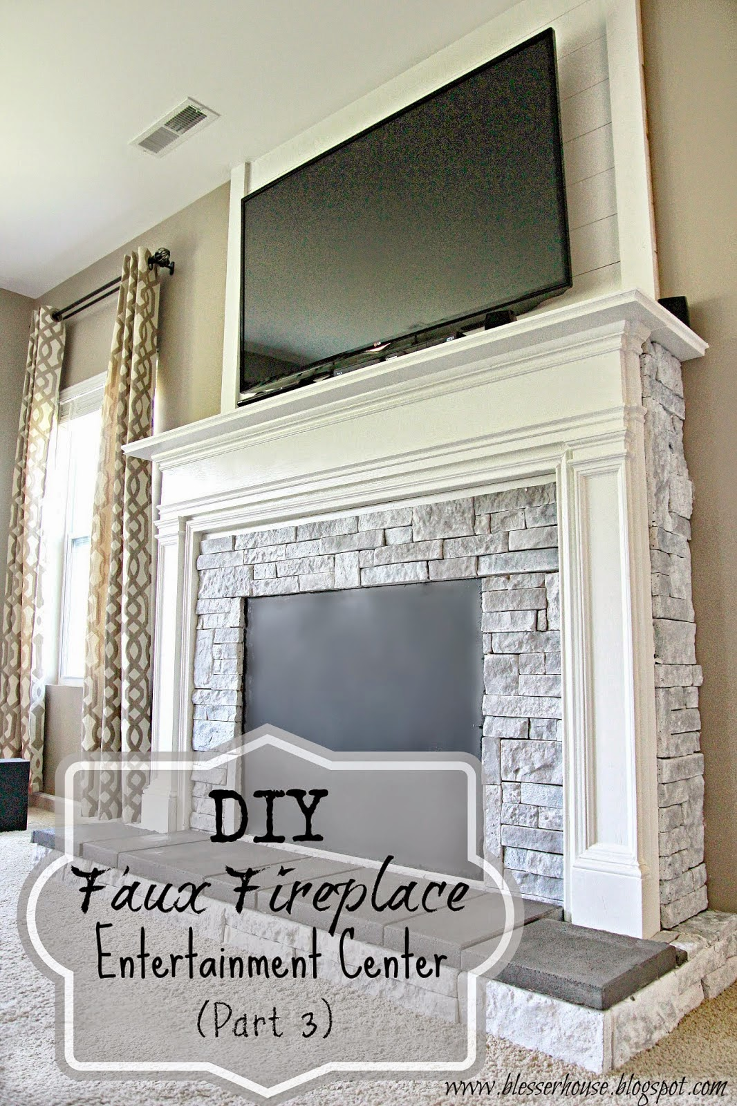 Diy faux fireplace for under 600 the big reveal bless for Faux marble fireplace mantels