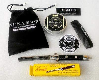 Paket Hemat Pomade Beaux Heavy + Switchblade Comb (SB) + Pouch + Stiker + Sisir Saku