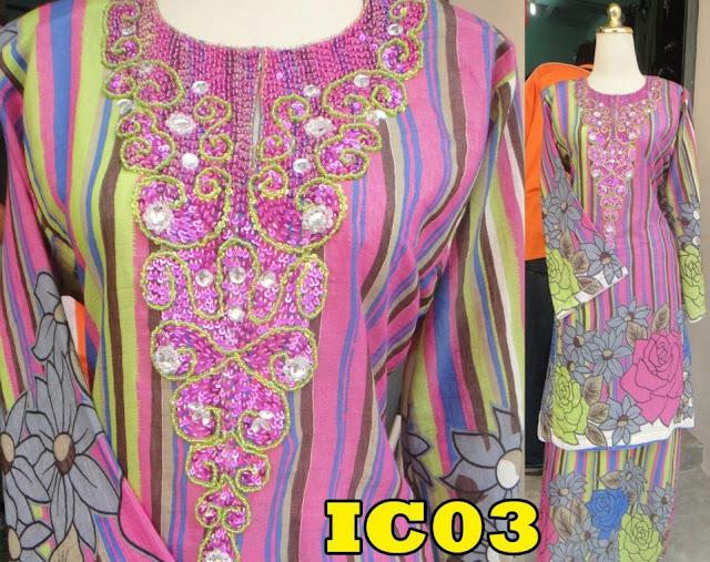 Baju kurung pahang manik stripe pink, blue, green