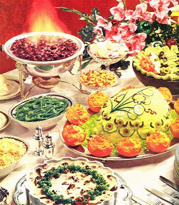 Be inspired 1960 39 s christmas dinner a vintage nerd old for Buffet cuisine 1950