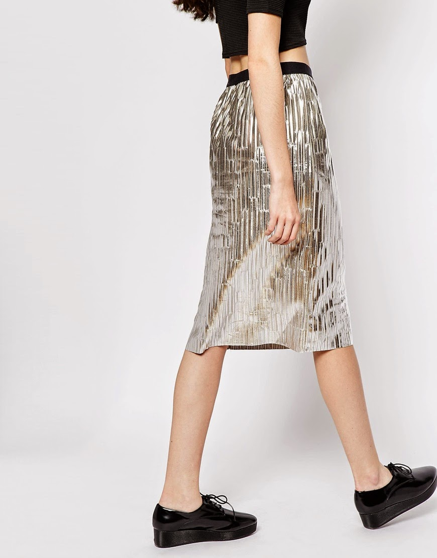 monki silver skirt, silver midi skirt,