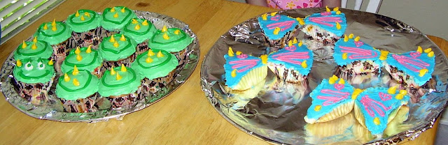 Caterpillar Cupcakes and Butterfly Cupcakes Together