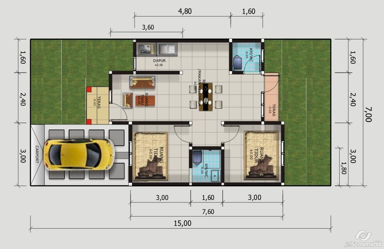 gambar denah rumah type 50 minimalis freewaremini