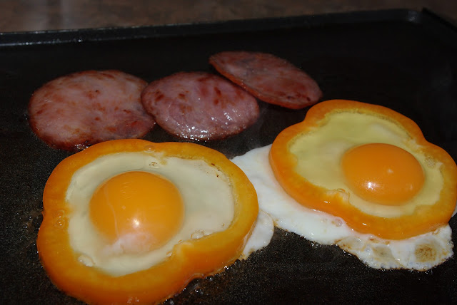 to cook eggs in. I chose to add back bacon and use provolone cheese ...