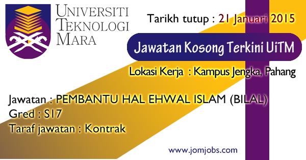 Jawatan Kosong UiTM - Universiti Teknologi Mara Pahang 2015