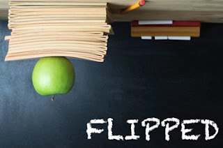 the word flipped with school supplies upside down