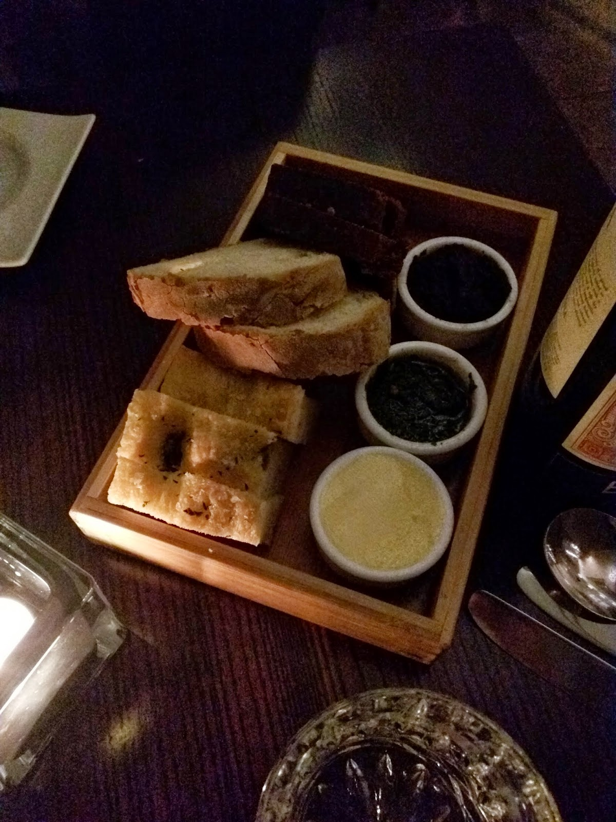 bread with trio of spreads