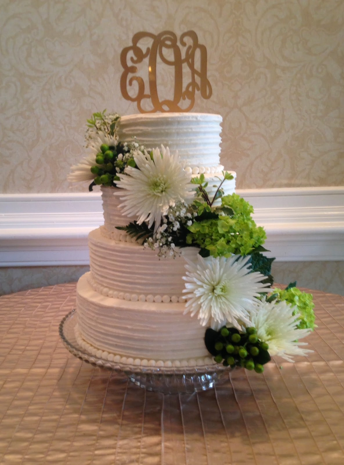 Darlin Designs Buttercream Monogram Wedding Cake