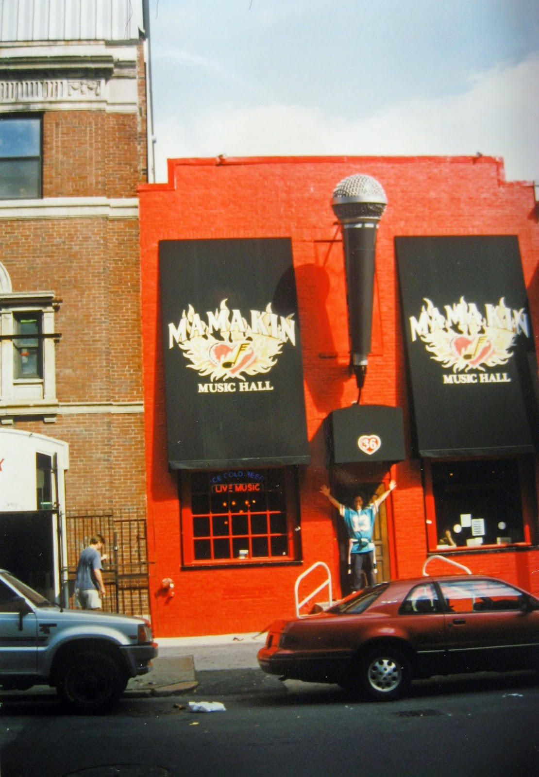Tommy Mondello outside the Mama Kin rock club that was partially owned by Aerosmith. It was located right across from the back of the Green Monster! Club closed in '98
