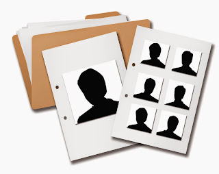 Illustration of a photo array featuring folders for individual suspect photographs