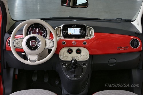 New Fiat 500c Red Dashboard