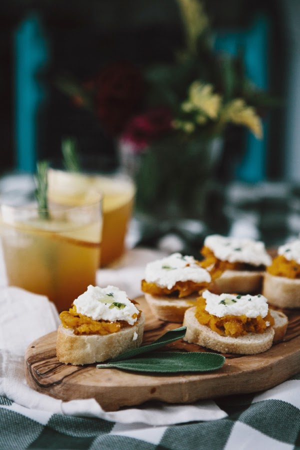 Entertaining: Butternut Squash + Ricotta Crostini