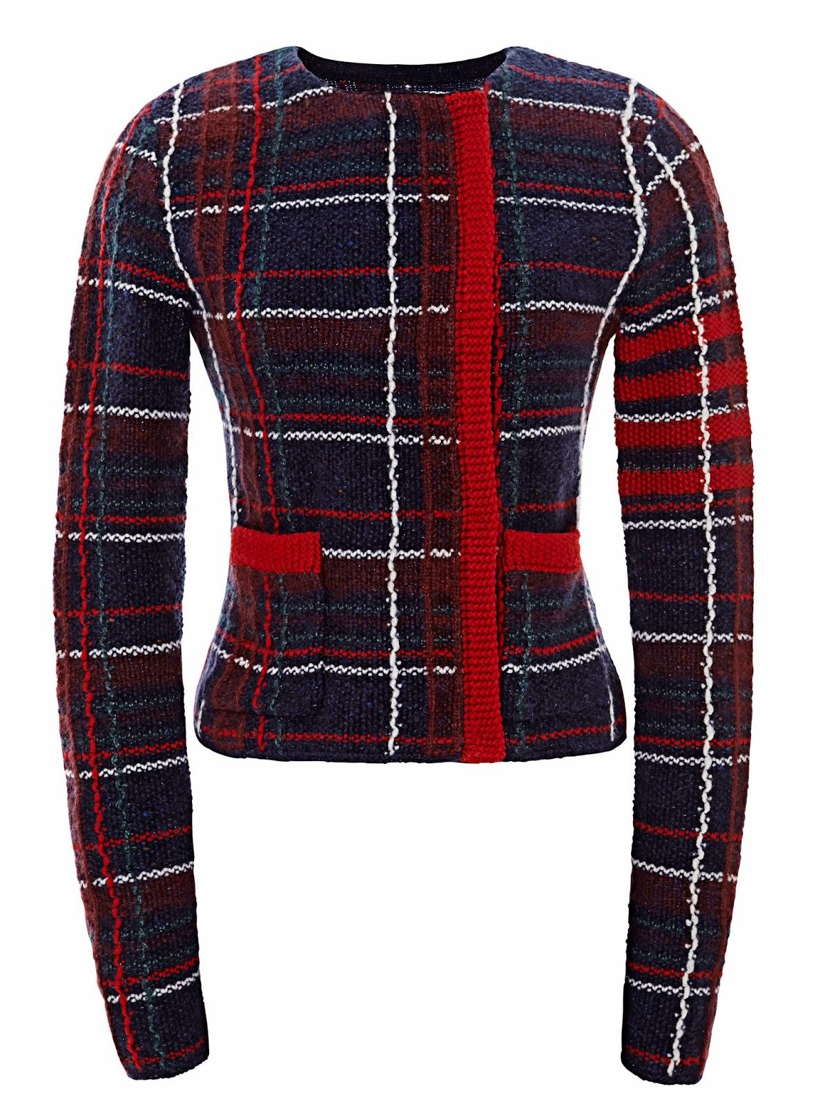 sweter dziany ryzem w kratke