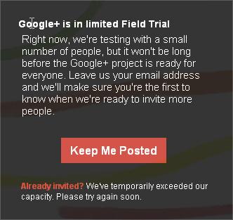 Google+ Limited Registration