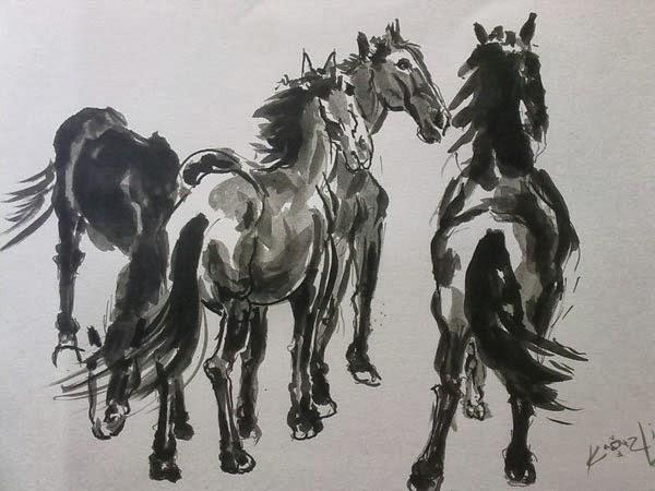 grupo de caballos en tinta china