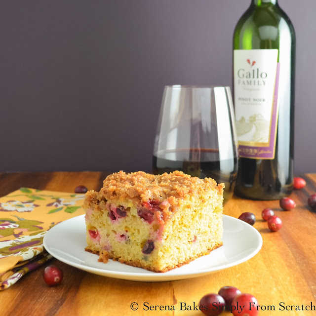 Cranberry Orange Coffeecake With Brown Sugar Crumb in perfect for breakfast, brunch or dessert for Thanksgiving or Christmas! serenabakessimplyfromscratch.com