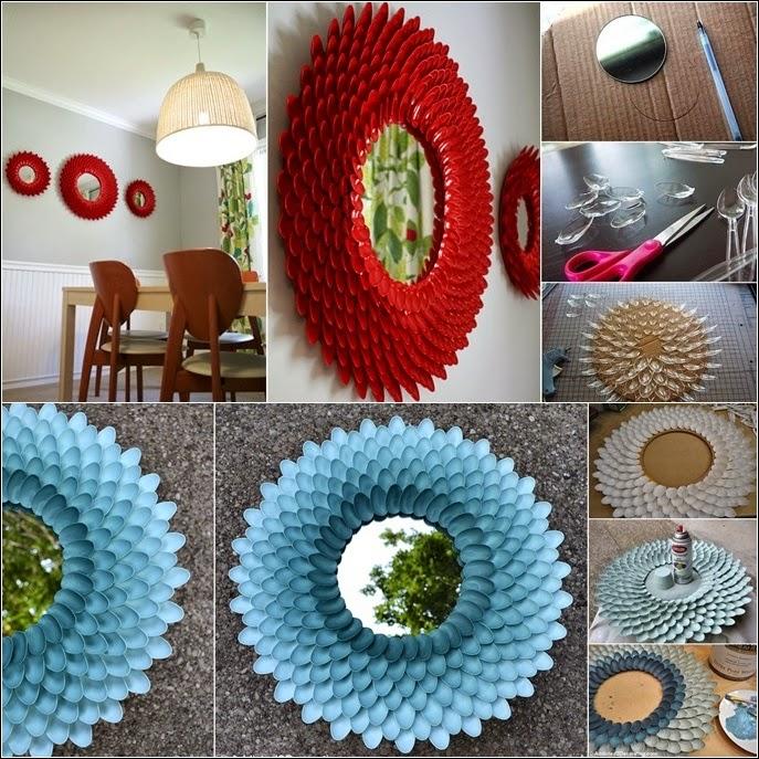 Home decor fantastic plastic spoon flower mirror to make for Plastic spoon flower mirror