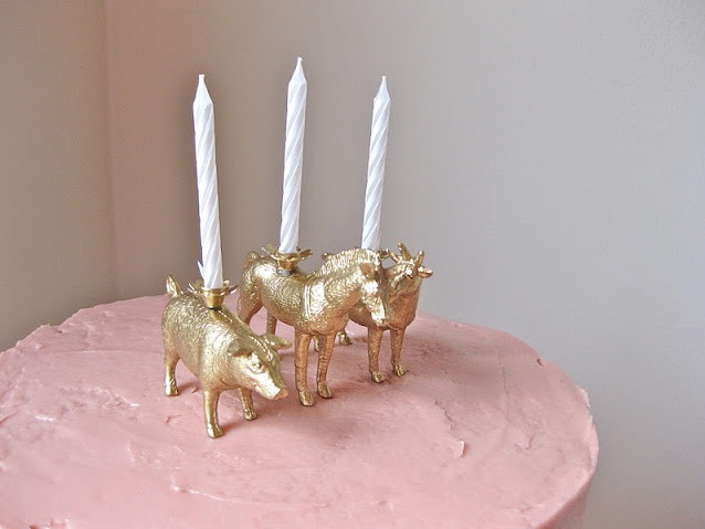 Fun candles on cake