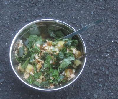 Lauwarmer Kartoffel-Lachs-Grünzeugs-Salat
