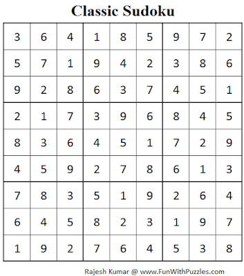 Classic Sudoku (Fun With Sudoku #66) Solution