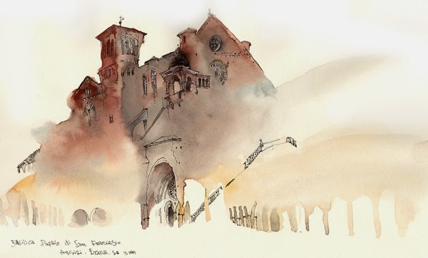 Water colour picture of Basilica Papale di San Francesco Assisti, Italy