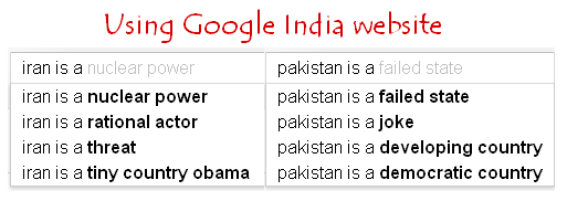Iran in Google India website